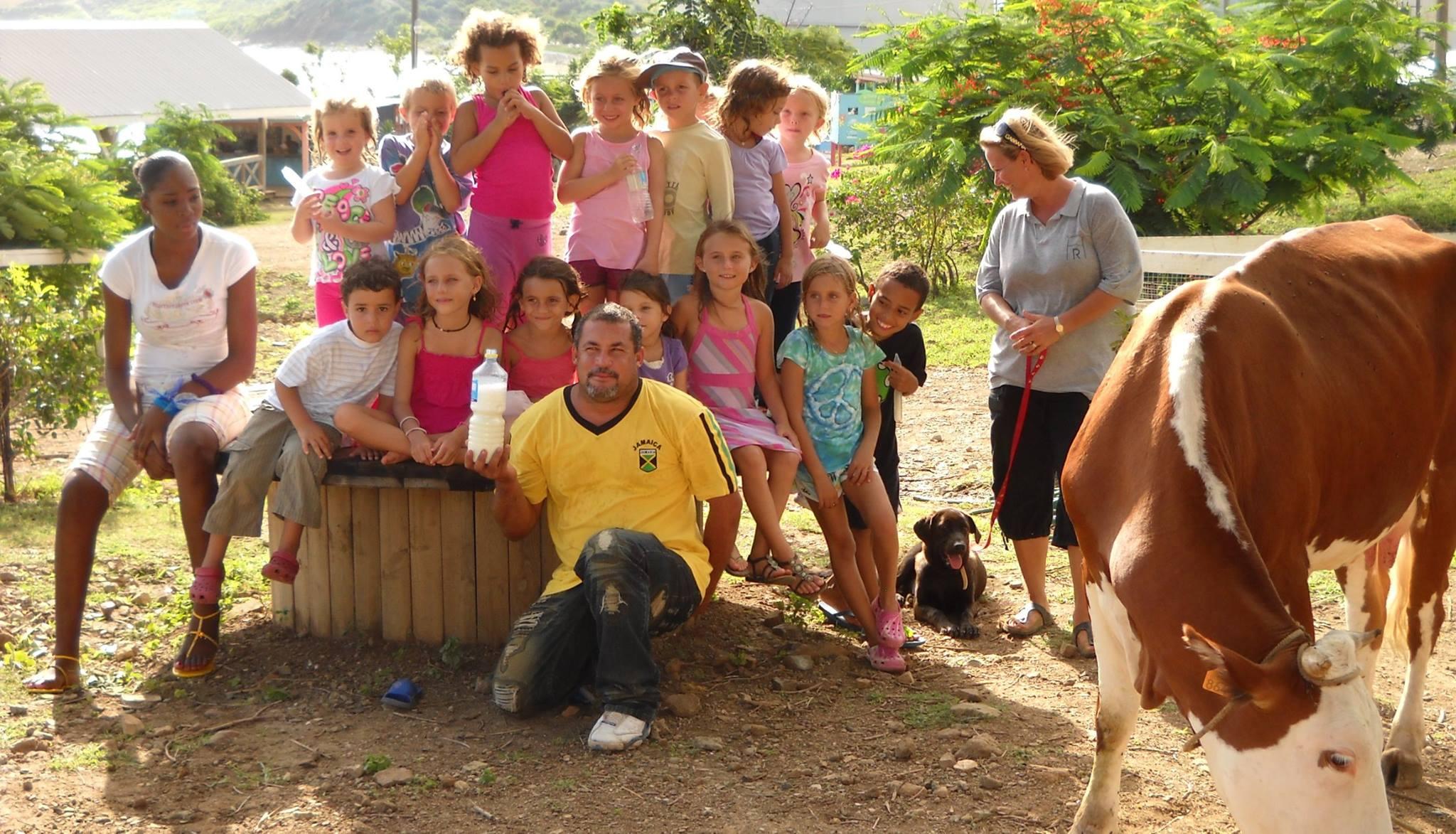 kids at pet farm