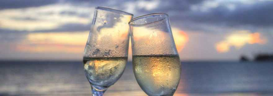 Champagne toast at sunset